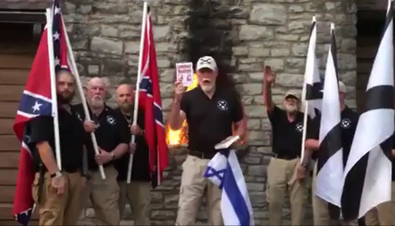 League Of The South President Burns Talmud  Israeli Flag