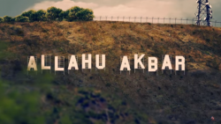 "The Hollywood sign replaced by the words ""Allahu Akbar"""